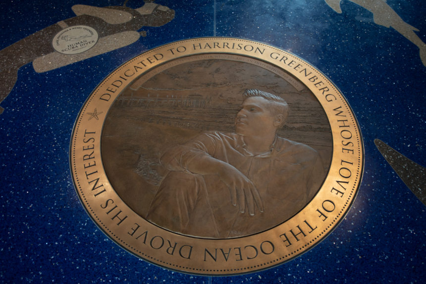 A bronze medallion on the floor of the Roundhouse aquarium features Harrison Greenberg.